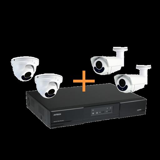 Maak een bundel - AVTECH AVH1109 NVR (8 kanalen) - AVTECH 2MP Dome of Bullet POE camera's - 5 tot 20% bundel korting