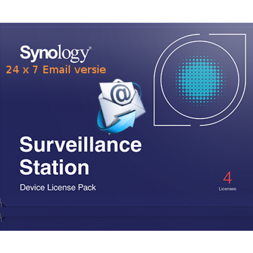 Synology Camera License, 4 camera's - Automatisch 24/7 direct per E-mail verzonden