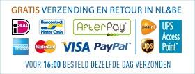 Gratis verzending via Postnl (NL) en UPS (NL+BE)